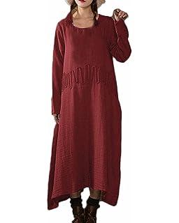 41cd16da57 Auxo Women Vintage Retro Loose Linen Round Neck Long Sleeve Casual  Irregular A-Line Maxi