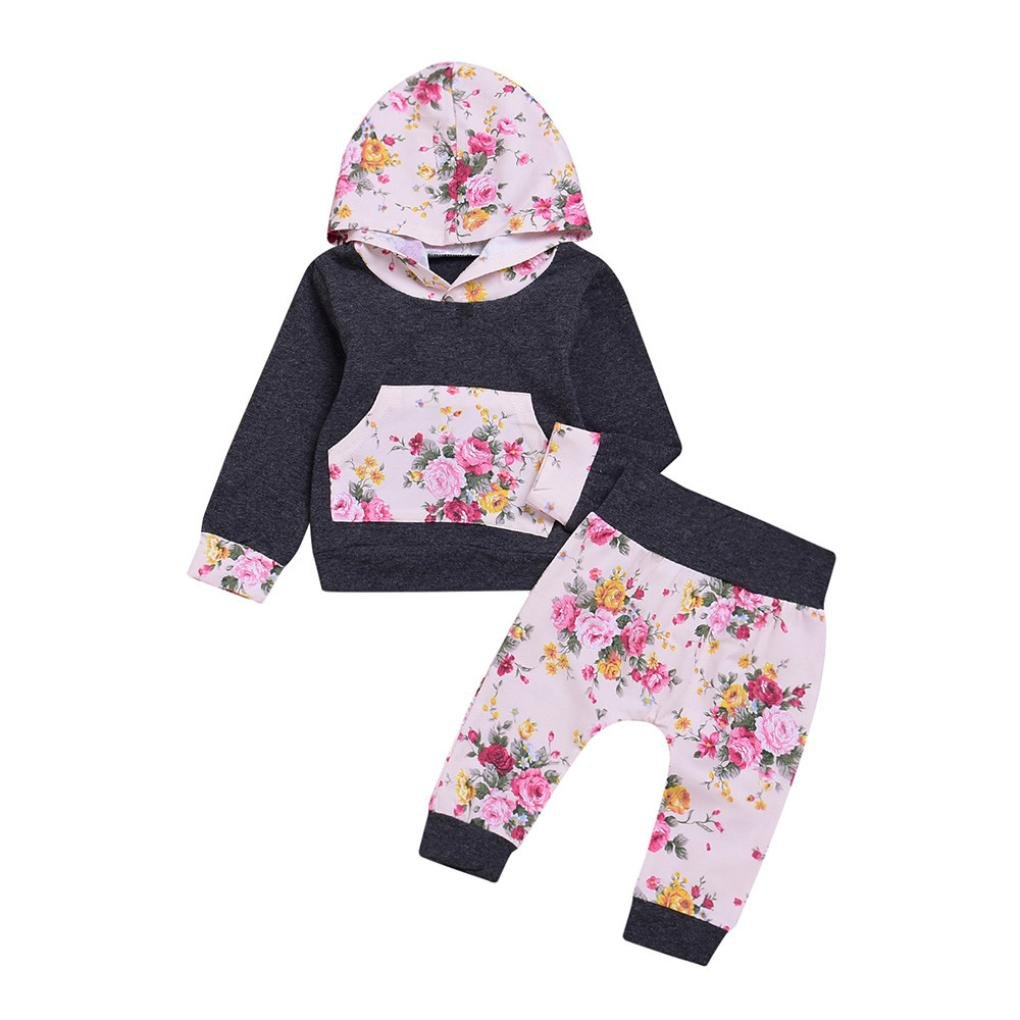 AutumnFall 2PCS Fashion Little Baby Girl Boy Hooded Set Floral Print Hoodie Tops+Pants Clothes (12M, Gray)