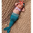 Fashion Newborn Boy Girl Baby Outfits Knitted Photography Props Blue Mermaid