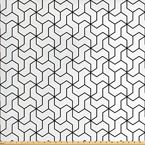 - Ambesonne Black and White Fabric by The Yard, Geometric Arrangement with Monochrome Design Lines and Optical Illusion, Decorative Fabric for Upholstery and Home Accents, Black White