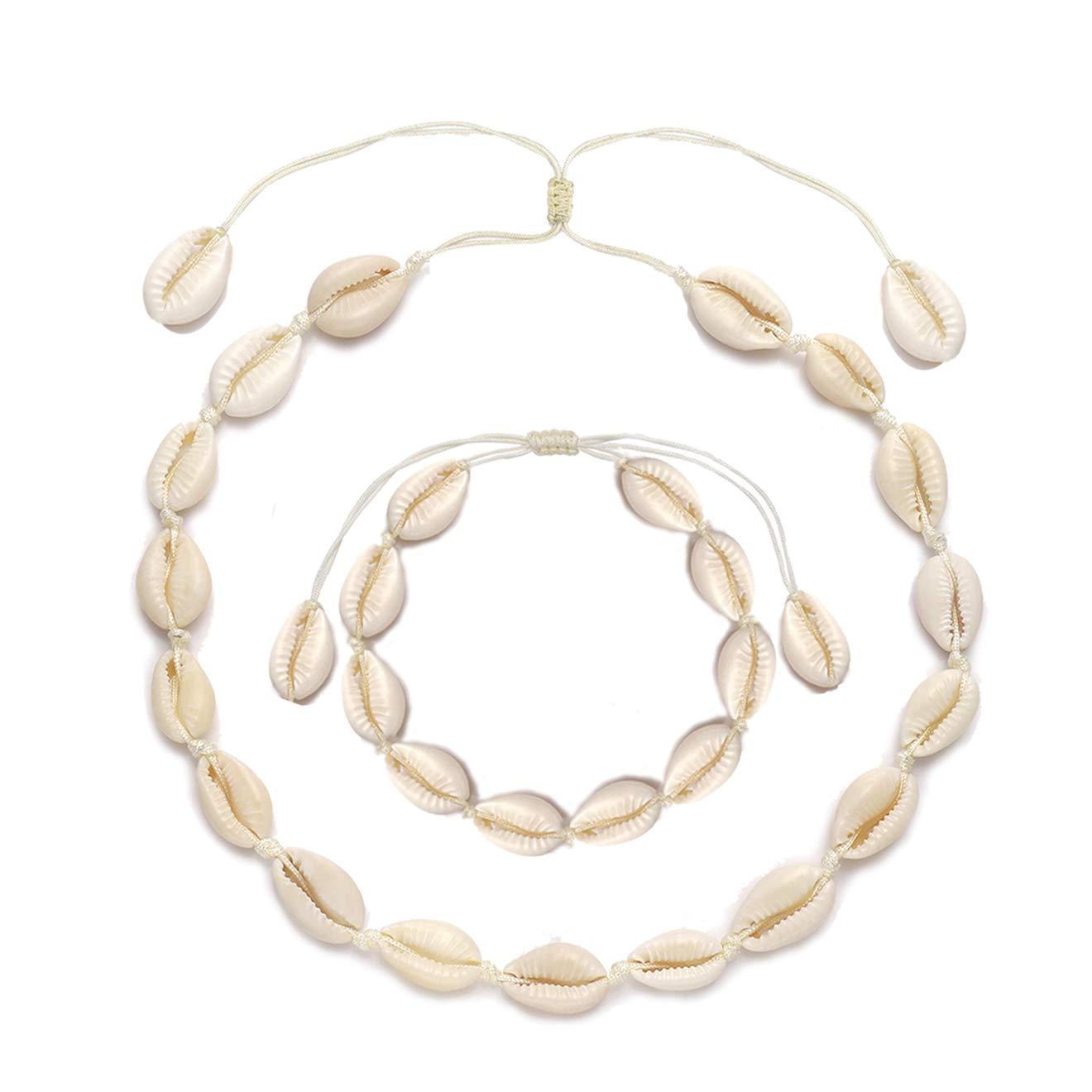 TIKCOOL Shell Choker Necklace for Women Seashell Bracelets Set Puka Shell Necklace Summer Beach Jewelry