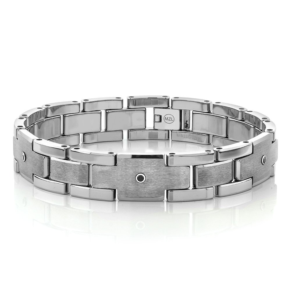8'' White & Gold Color Tungsten Men's Fold Over Clasp Bracelet With Black Diamond by Gem Stone King