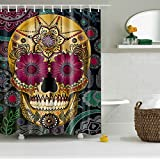 GWELL Sugar Skull Shower Curtain Waterproof Polyester Fabric Bathroom Shower Curtain with12 Hooks (70.86X70.86-Inch, #1)