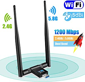 USB WiFi Adapter – Maxesla 1200Mbps WiFi Dongle 5G/2.4G Dual Band Detachable 5dBi Antenna for PC/Desktop/Laptop/Tablet Support Windows XP/Vista/2000/7/8/10, Mac OSX 10.6-10.14, Ubuntu Linux