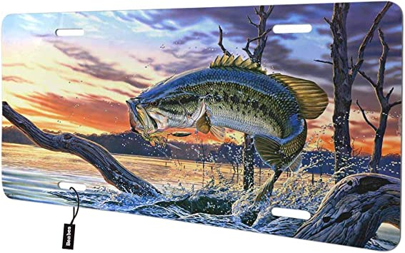 Beabes Bass Fish Jumping Front License Plate Cover,Sunset River Oil Painting Pattern Decorative License Plates for Car,Aluminum Novelty Auto Car Tag Vanity Plates Gift for Men Women 6x12 Inch