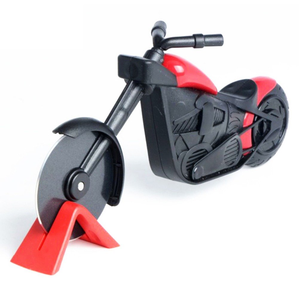 JAYLONG Motorcycle Pizza Cutter Stainless Steel Pizza Wheel Cutter Motorbike Roller Pizza Chopper Slicer Peel Knife Tools