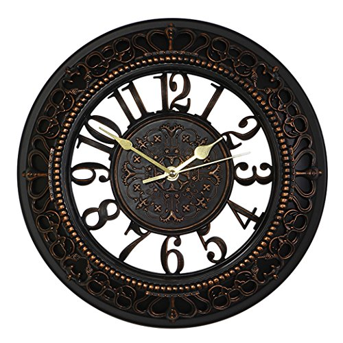 Foxtop 12 Inch Silent Wall Clock European-style Vintage Retro Antique Royal Style Resin See Through Lightweight Wall Clock Creative Decorative - Black