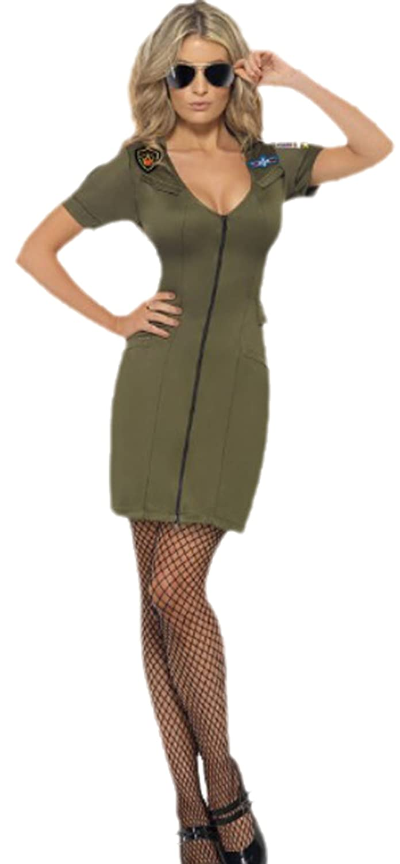 Halloweenia - Damen Top Gun Piloten Minikleid Kostüm, L, Grün