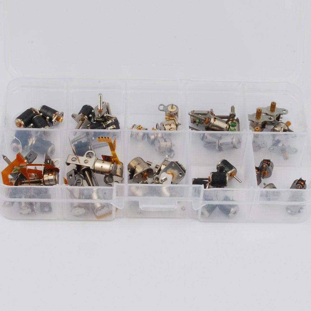 50pcs 3-5V dc 4 Wire 2 Phase Micro Stepper Motor Mini Stepping Motor 10 Types 5pcs Each Miniature Stepper Motor Assorted with Box