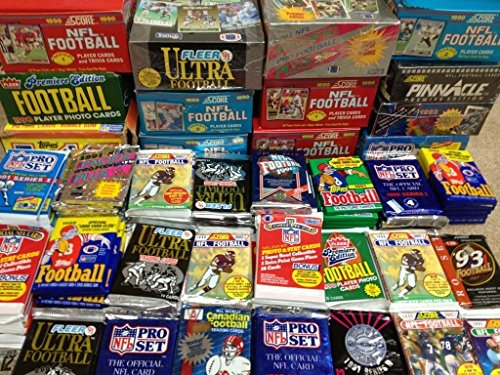 - NFL Football (100) Cards in Sealed Wax Packs Topps Score Pro Set Upper Deck Fleer Ultra Old Vintage