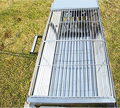 """Outdoor4less Stainless Steel Portable Folding Tall Barbecue BBQ Charcoal Grill with Lges - Silver Chrome, Lightweight, Foldable - For Camping, Picnic, Outdoor - 44"""" x 12'' x 28"""""""