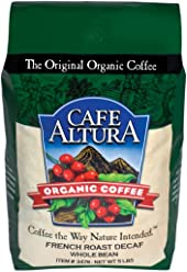 Cafe Altura Whole Bean Organic Coffee, French Roast Mountain Water Decaf, 5 Pound