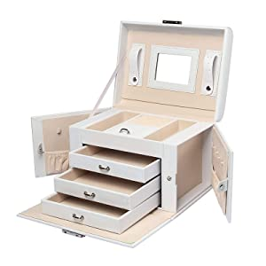 Homde Jewelry Box Necklace Ring Storage Organizer Synthetic Leather Large Jewel Cabinet Gift Case (White)