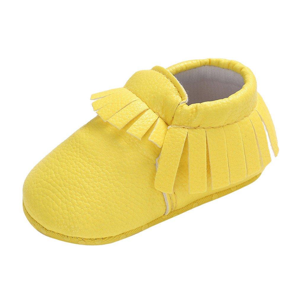 Yalasga Baby Girl Boy Cute Moccasins Soft Tassels Shoes Prewalker (Yellow, 2.5/0~6 Month)