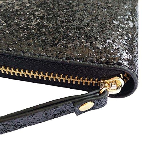 Women Wristlet Wallet - Sequined Clutch Bag with Zipper Closure - Black, by Beaulegan by BEAULEGAN (Image #3)