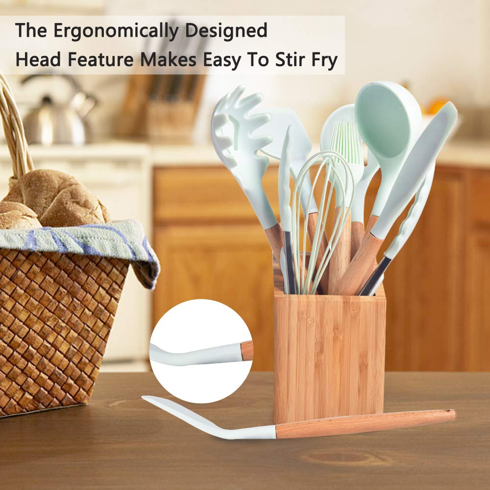Silicone Cooking Utensils with Holder, Kitchen Utensil Set,Yostyle 9-Piece Cooking Utensils & Spatulas Set with Bamboo Wood Handles for Nonstick Cookware, Utensils Holder Included(BPA Free)