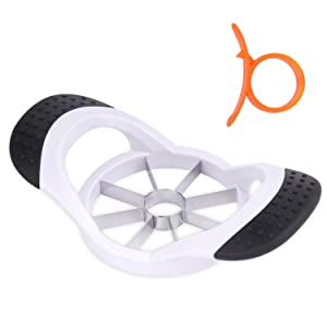 Nuovoware 8-Blades Apple Slicer Corer Cutter Wedger Divider + One Orange Peeler, with 8 Ultra-Sharp Stainless Steel Blades and Comfortable Ergonomic Anti-Slip Grip Handle, White & Black