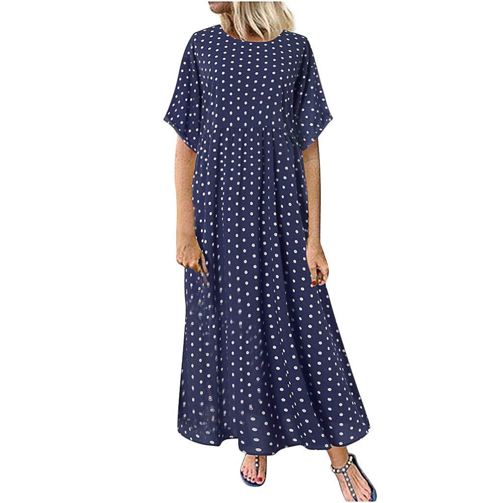 Botrong Plus Size Women O-Neck Short Sleeve Dot Peinted Casual Dress (Navy,XXXXXL) by Botrong
