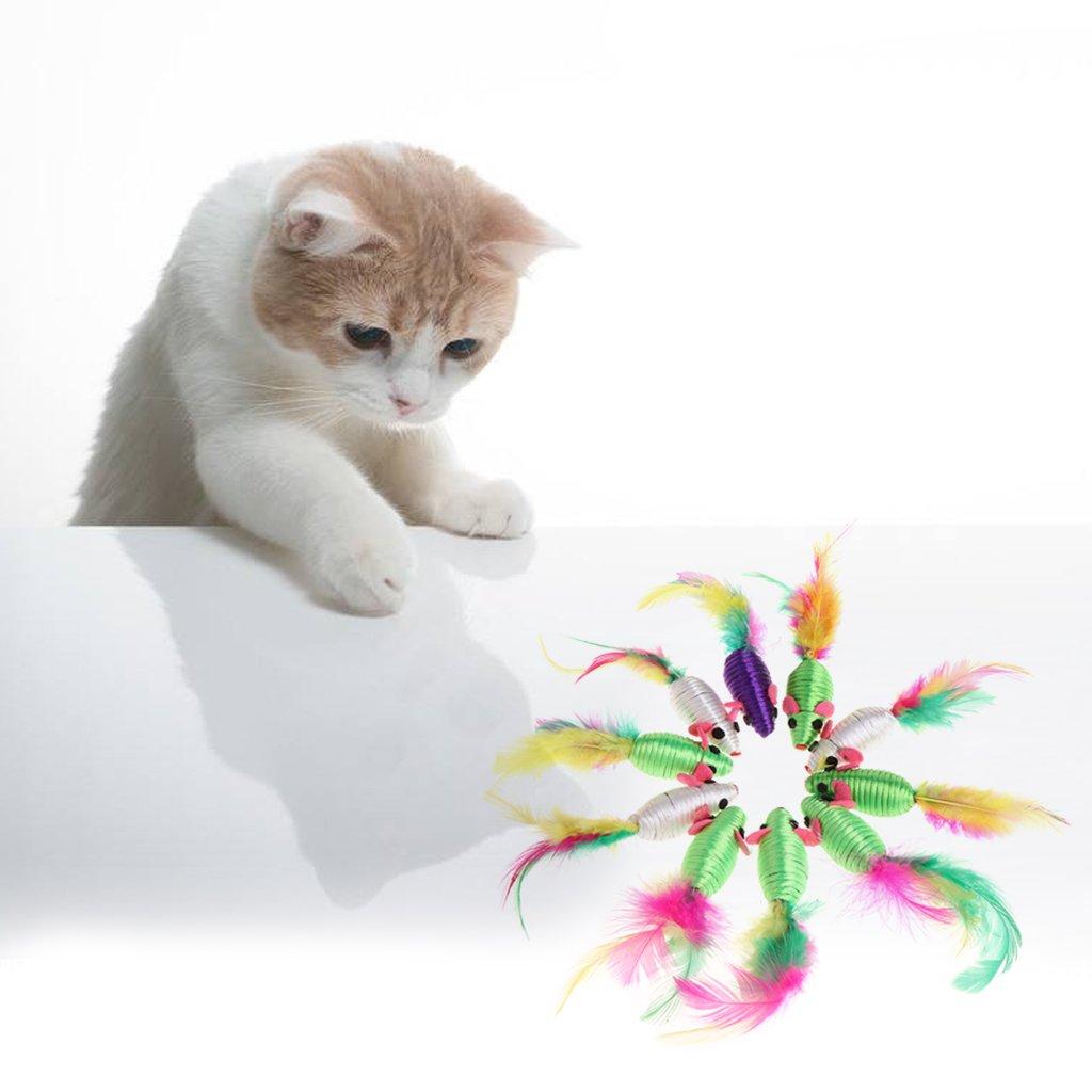 Tandou 10 pezzi seta filata filata filata errata Mouse Gatto giocattolo disegno piuma bella masticare Giocare Giocattolo ea7142