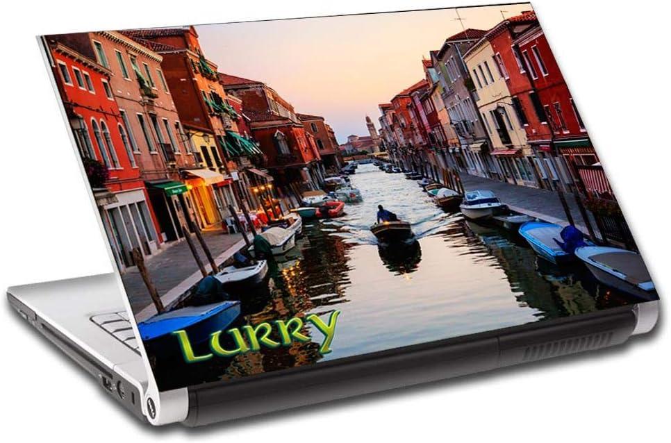 "Venice Canal Landscape Personalized LAPTOP Skin Decal Vinyl Sticker NAME L536, 15.6"""