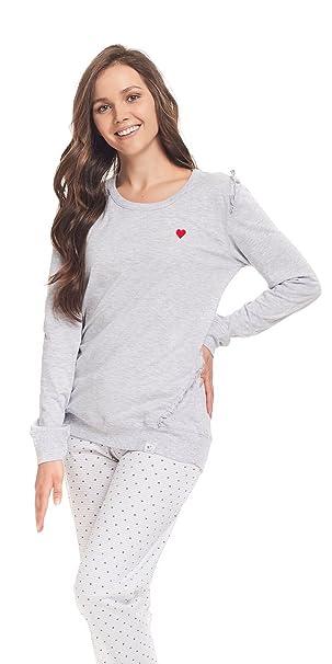 DN Nightwear Traje de dormir para mujer/Pijama Mila/Manga Larga) gris Large