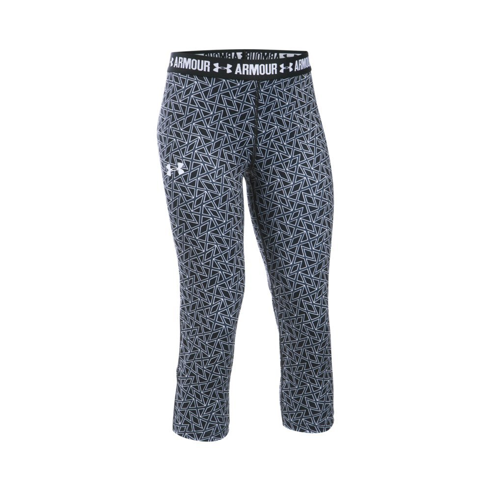 Under Armour Girl's HeatGear Armour Printed Capris, Black (004)/White, Youth X-Small