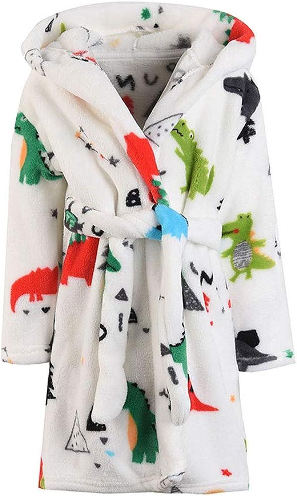 JZLPIN Kinder Bademantel f/ür M/ädchen Jungen Baby Kleinkind Robe Cartoon Kapuze Flanell Bademantel Pyjama Nachtw/äsche