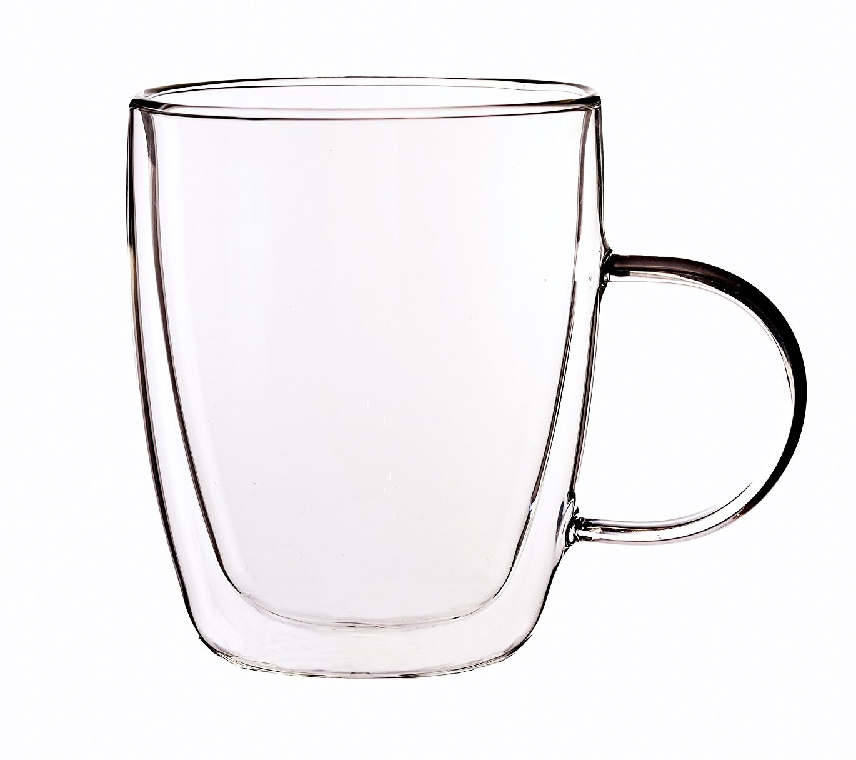 PremiaCasa 11 oz Strong Double Wall Insulated Borosilicate Thermo Glass Mug for Coffee Tea (Set of 2)