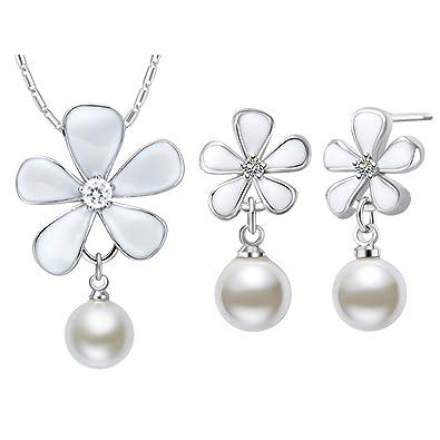 KNSAM Collar Plata Mujer, Conjunto de Collar Pendientes, con Perla Blanco Aceite Flor Juego de Joyas: Amazon.es: Joyería