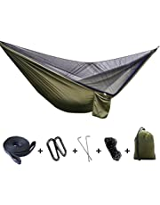 Camping Hammock,FOME SPORTS OUTDOORS Updated Version Large Size Portable Parachute Fabric Hammock Hanging Bed With Unremoveable Mosquito Net 114x55inch 660lbs Capacity for Backpacking Travel Yard