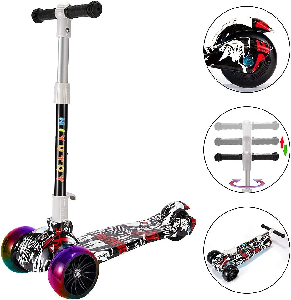 HIYUTOY Kick Scooter 3 Wheel Scooter,Adjustable Height Kids Scooter,Lean to Steer with Extra-Wide PU LED Light Up Wheels,for Boys /& Girls from 3 to 12 Years Old