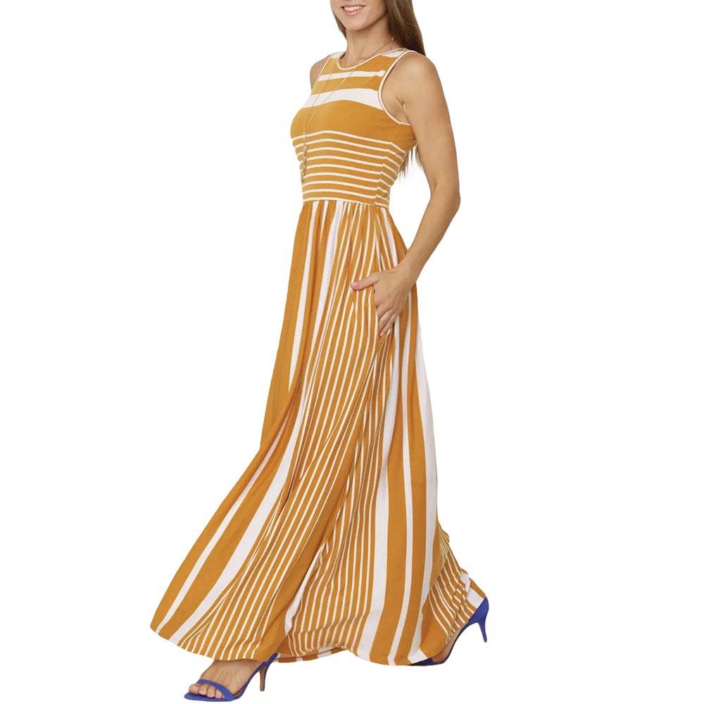 Lrud Women's Scoop Neck Striped Sleeveless Tank Top Long Maxi Dress with Pockets Mustard-White-M
