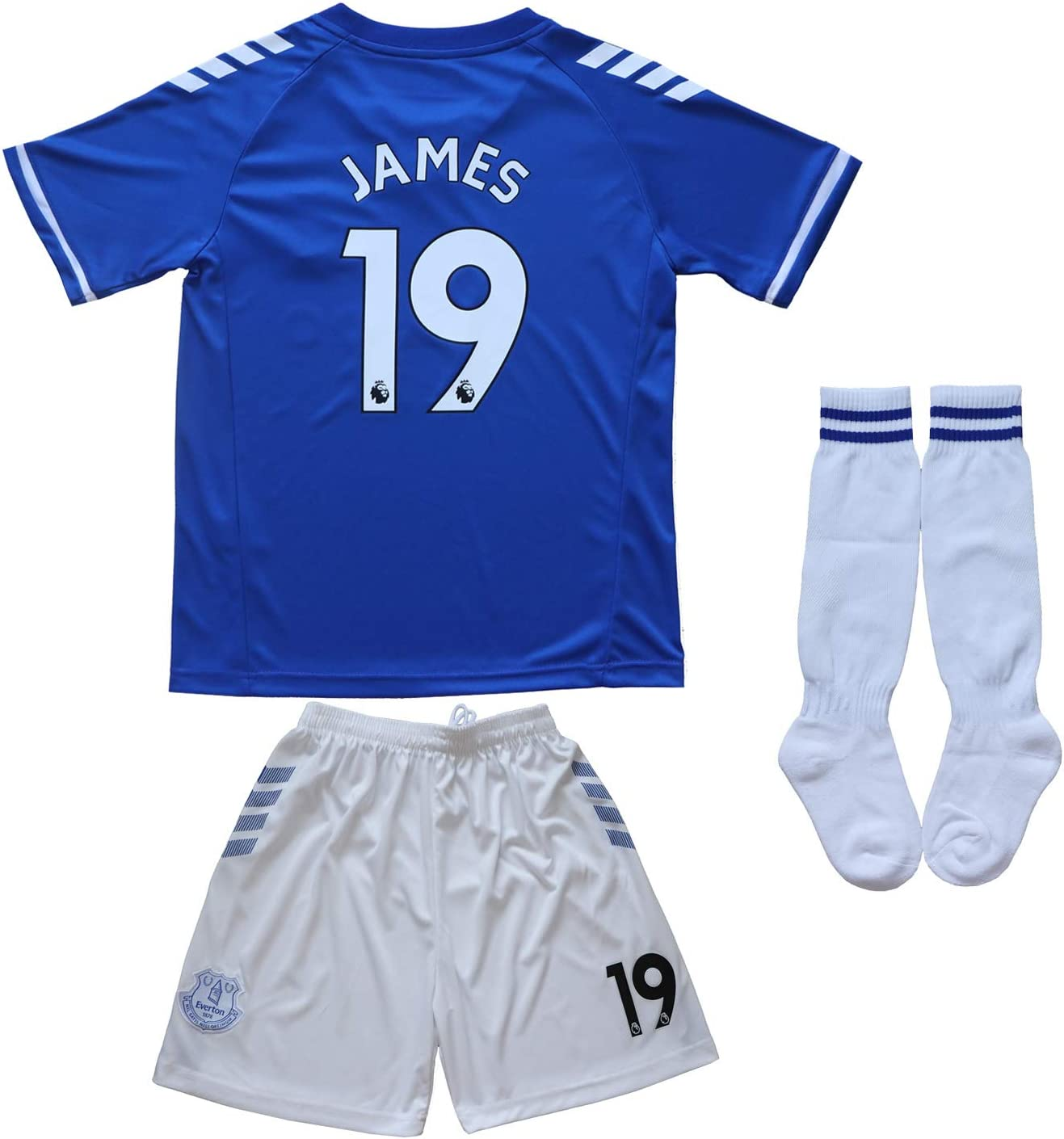 BIRD BOX 2020/2021 Ever Home #19 James Rodriguez Home Blue Soccer Kids Jersey Shorts Socks Set Youth Sizes