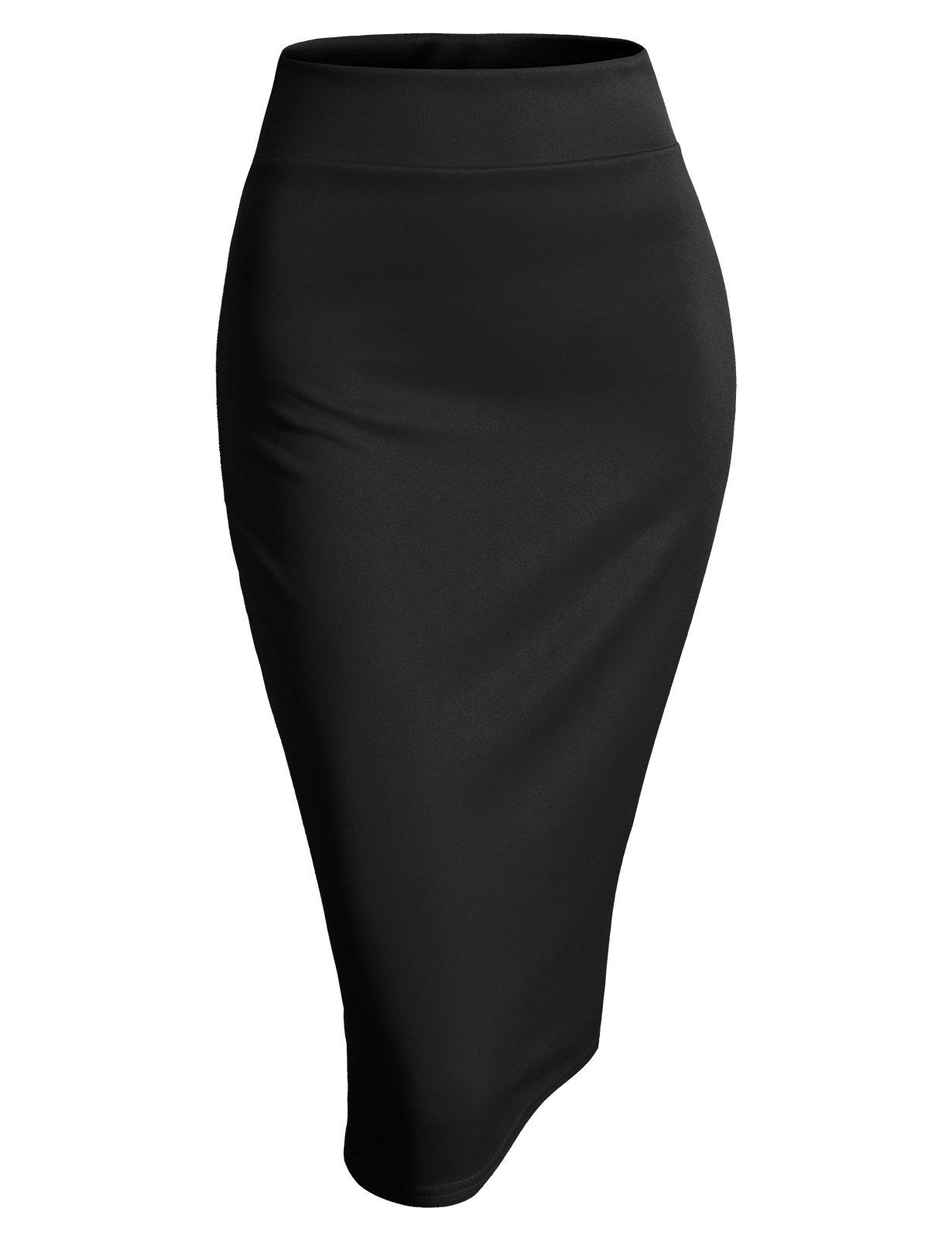 H2H Womens Basic Versatile Elastic Waist Band Office Pencil Skirt Black XL (AWBMS0189)