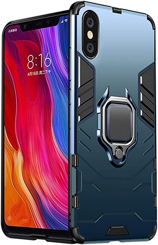 iPhone Xs Max Case 6.5 insh Military Grade Shockproof with Kickstand Stand Built-in Magnetic Car Mount Armor Heavy Duty Protective Case for iPhone Xs Max Phone Case Blue