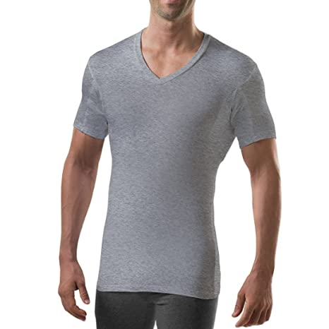 Thompson Tee Men's Sweat Proof Undershirt With Underarm Sweat Pad, Slim Fit, Vneck by T Thompson Tee