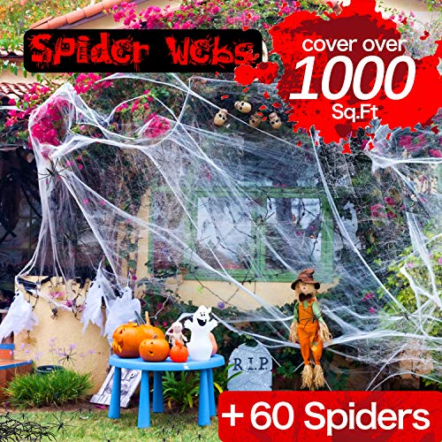 Spider Web Halloween Decorations - Cobweb Decorations Indoor/Outdoor Spider Webs 1000 sqft with 60 Fake Spiders
