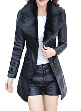 82aefe174899 BYWX Women Winter Faux Fur Lapel Warm Faux Pu Leather Belted Trench Coats  Black US XS