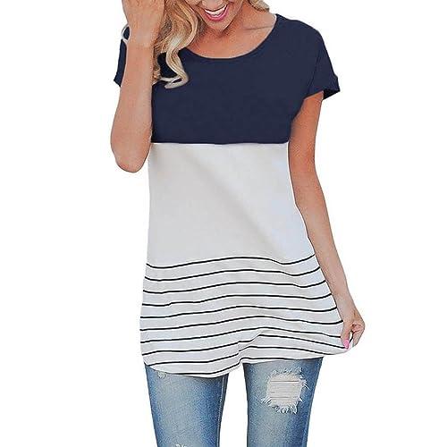 Reasoncool 2017 Camicia a maniche corte del nuovo delle donne a righe Splice pizzo camicetta casual parti parti superiori della maglietta