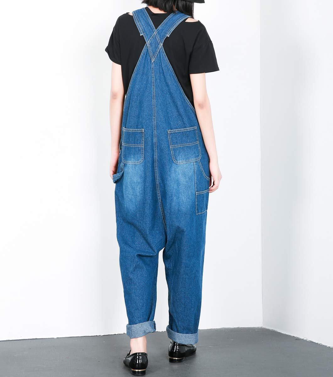 e0f8f4f5fbb ELLAZHU Women Fashion Adjustable Strap Pockets Denim Overalls ...