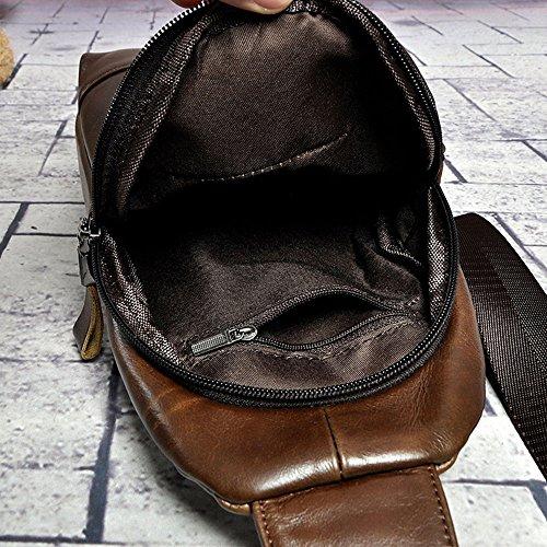 Cuero Teléfono Móvil Aire Genuino Cruzado Del Bandolera Al Hombres Los Regalo Pecho Multifuncional Wagsiyi Bolsa Libre Bolso De OC6Ogq