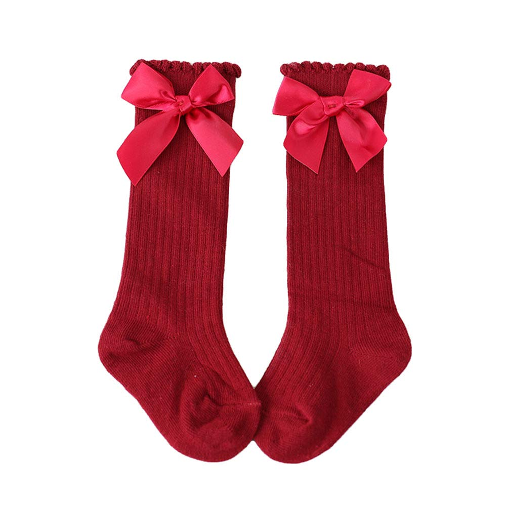 Newborn Baby Girls Stockings Toddler Girls Bowknot Knee Length Long High Socks 0-4Y US1810051553