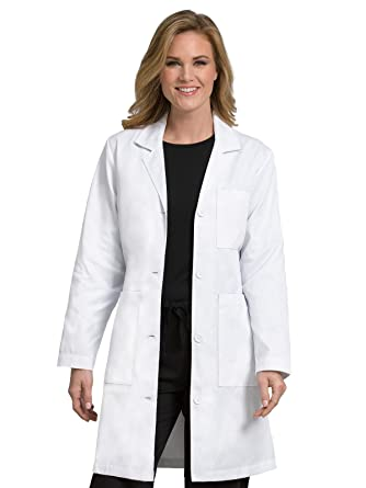 01e4a2235cb Amazon.com: Med Couture Women's Lab Coat 37 inch White Labcoat Long:  Clothing