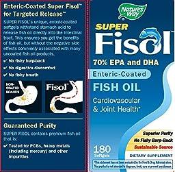 Nature\'s Way Super Fisol Fish Oil, 70% EPA/DHA, 180 Softgels