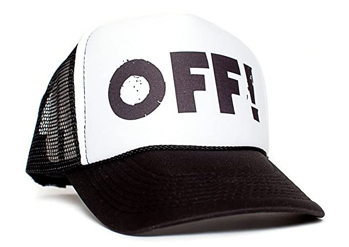 f41a3518bfe Amazon.com  OFF! Unisex-Adult Curved Bill One-Size Truckers Hat (Black White)   Clothing