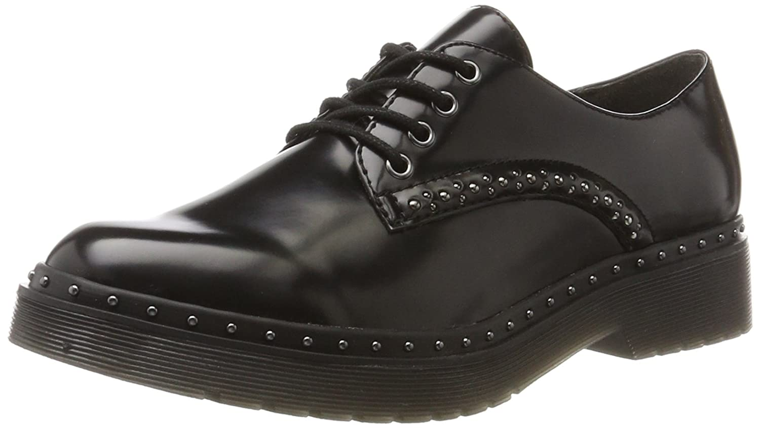 Tamaris 23725, Scarpe Stringate Derby Donna Nero (Black Uni)