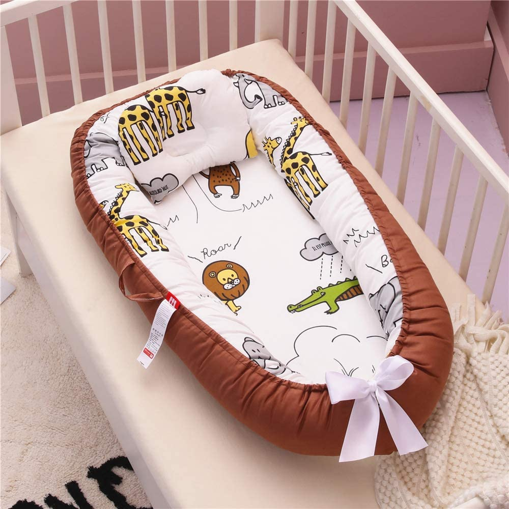 Abreeze Baby Bassinet for Bed Lion Baby Lounger Crib Breathable & Hypoallergenic Co-Sleeping Baby Bed 100% Cotton Portable Crib Pillow for Bedroom/Travel/Camping