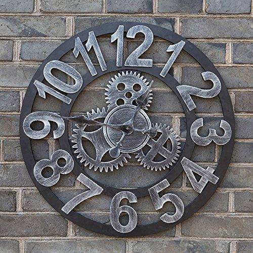 AODISHA ギアハンギングクロック、ヴィンテージリビングルームウォールクロック木製ウォールクロックホームバー装飾壁時計直径48-58CM より多くの装飾を取る (色 : C, サイズ さいず : 50*50cm) B07DZVTJPV 50*50cm|C C 50*50cm