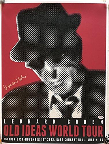 Leonard Cohen signed concert poster austin old ideas tour 2012 with psa dna coa