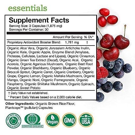 Essentials Vitaminas y Minerales de Alimentos Orgánicos Integrales – 26 Súper Alimentos Frutas y Vegetales Orgánicos para una Nutrición Completa + ...